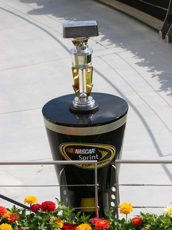 The Allstate 400 at The Brickyard trophy awaits the winner of the race in victory lane