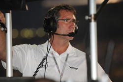 Tony George watches the race intently