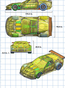 This CAD (computer-aided design) illustration shows the overall layout of the GT2 Corvette C6.R's components, with a GM small-block V8 engine mounted behind the centerline of the front wheels and a 6-speed sequential-shift transaxle between the rear wheel