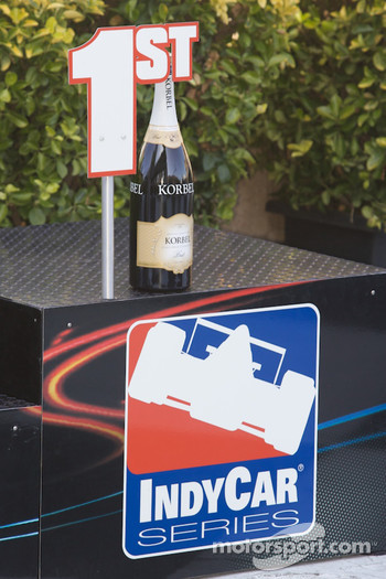 Victory lane: the winning bottle of wine