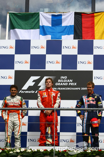 l-r, 2nd, Giancarlo Fisichella, Force India F1 Team, 1st, Kimi Raikkonen, Scuderia Ferrari, 3rd, Sebastian Vettel, Red Bull Racing