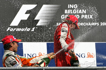 Giancarlo Fisichella, Force India F1 Team and Kimi Raikkonen, Scuderia Ferrari