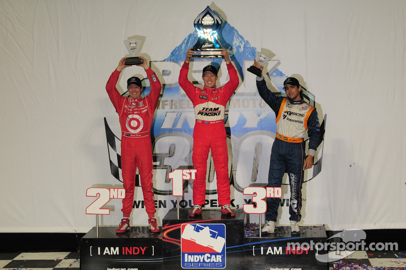 Ryan Briscoe, Team Penske on the podium with Scott Dixon, Target Chip Ganassi Racing and Mario Moreas, KV Racing Technology