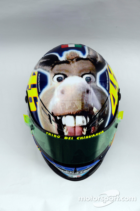 New design with a donkey on the helmet of Valentino Rossi, Fiat Yamaha Team at San Marino GP