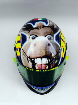 New design with a donkey on the helmet of Valentino Rossi, Fiat Yamaha Team