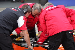 F2 Engineers work on the car of Philipp Eng