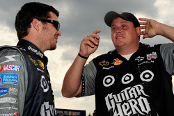 Pole winner Martin Truex Jr., Earnhardt Ganassi Racing Chevrolet celebrates with crew chief Kevin Manion