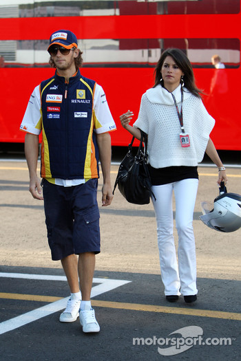 Romain Grosjean, Renault F1 Team and his girlfriend Marion Jolles