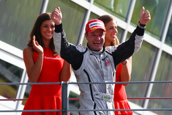 Podium: race winner Rubens Barrichello, Brawn GP