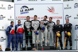 LMP2 podium: class winners Jonny Kane, Benjamin Leuenberger and Xavier Pompidou, second place Thomas Erdos and Mike Newton, third place Jacques Nicolet and Richard Hein