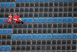 Two fans in the grandstand