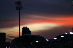The sun sets over Singapore