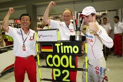 Tadashi Yamashina, Chairman and Team Principal, John Howett, Toyota Racing, President TMG and Timo Glock, Toyota F1 Team celebrate 2nd place