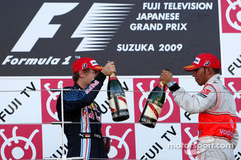 Podium: race winner Sebastian Vettel, Red Bull Racing, third place Lewis Hamilton, McLaren Mercedes