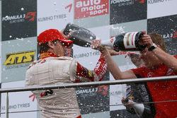 Podium: race winner and champion Jules Bianchi, ART Grand Prix Dallara F308 Mercedes