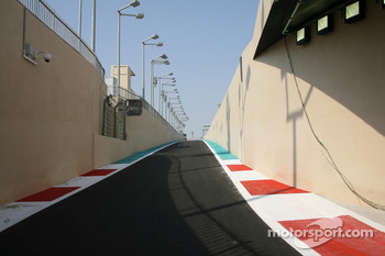 The pit lane of New Abu Dhabi Yas Marina Circuit