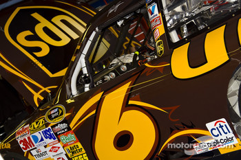 David Ragan's UPS Ford Fusion sits in the garage