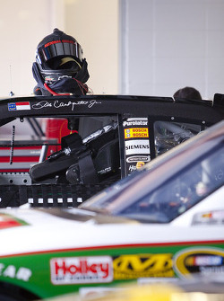 Dale Earnhardt's helmet sits on top of his car prior to practice