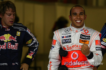 Pole winner Lewis Hamilton, McLaren Mercedes, second place Sebastian Vettel, Red Bull Racing