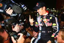 Red Bull Racing team celebration: Sebastian Vettel, Red Bull Racing celebrates his win with his team