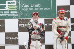 Christian Vietoris celebrates his victory on the podium with Josef Kral