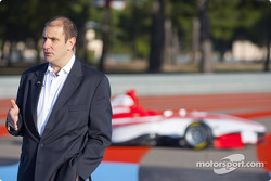 Bruno Michel, GP3 Series Organiser with the new car