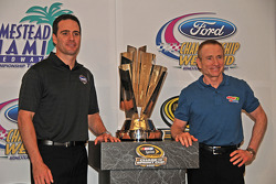 NASCAR championship contenders press conference in Coral Gables: Mark Martin, Hendrick Motorsports Chevrolet, and Jimmie Johnson, Hendrick Motorsports Chevrolet pose with the NASCAR Nextel Cup trophy