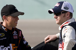 Denny Hamlin, Joe Gibbs Racing Toyota and Dale Earnhardt Jr., Hendrick Motorsports Chevrolet