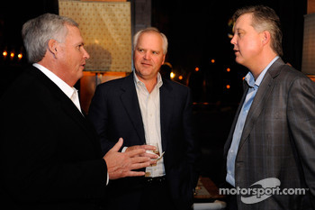 CEO of Lowe's Robert Niblock, NASCAR Chairman and CEO Brian France and team owner Rick Hendrick attend the NASCAR Champion's Dinner at DB Brasserie inside the Wynn Las Vegas