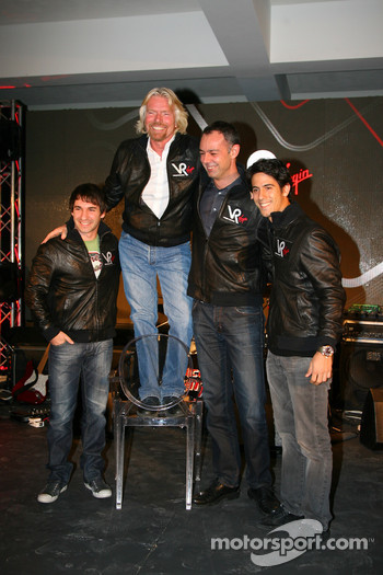 Timo Glock, driver with Sir Richard Branson, Chairman of the Virgin Group, Nick Wirth, Technical Director and Lucas di Grassi, driver