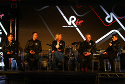 Alex Tai, Virgin Racing CEO and Team Principal with Nick Wirth, Technical Director, Sir Richard Branson, Chairman of the Virgin Group, John Booth, Sporting Director and Graeme Lowden, director of racing