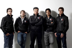 Alvaro Parente, test driver, Timo Glock, driver, Alex Tai, Virgin Racing CEO and Team Principal, Lucas di Grassi, driver, and Luiz Razia, test driver