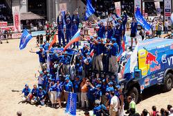 Trucks podium: 2010 Dakar Rally winners in the trucks category Vladimir Chagin, Semen Yakubov and Eduard Nikolaev celebrate second place Ilgizar Mardeev, Viatcheslav Mizyukaev and Andrey Karginov