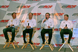 RCR drivers Clint Bowyer, Kevin Harvick and Jeff Burton joined by owner Richard Childress