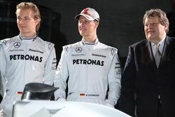 Nico Rosberg, Michael Schumacher and Norbert Haug