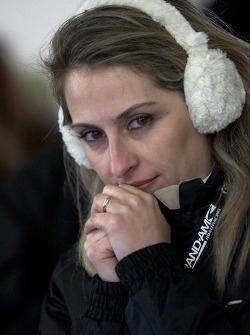 Joao Barbosa's girlfriend watches on with a few minutes to go