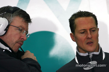Ross Brawn Team Principal, Mercedes GP and Michael Schumacher, Mercedes GP