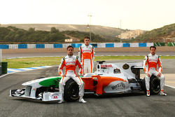 Vitantonio Liuzzi, Force India F1 Team with Paul di Resta, Test Driver, Force India F1 Team and Adrian Sutil, Force India F1 Team