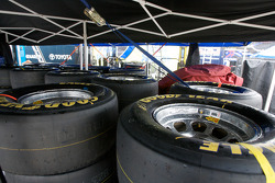 Goodyear tires under a tent