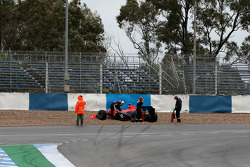 Timo Glock, Virgin Racing, stops in the gravel