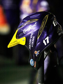 A Crown Royal crew members helmet sits on pit road