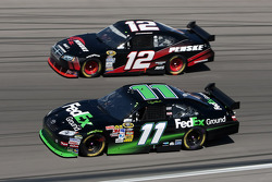 Denny Hamlin, Joe Gibbs Racing Toyota and Brad Keselowski, Penske Racing Dodge