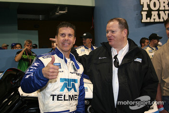Race winner Scott Pruett celebrates with team owner Chip Ganassi