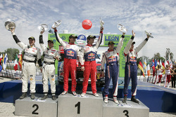 Podium: winners Sébastien Loeb and Daniel Elena, Citroën C4, Citroën Total World Rally Team, second place Petter Solberg and Philip Mills, Citroën C4 WRC, Petter Solberg Rallying, third place Sébastien Ogier and Julien Ingrassia, Citroën C4 WRC, Cit