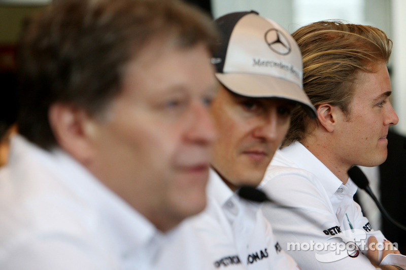 Norbert Haug, Mercedes, Motorsport chief, Michael Schumacher, Mercedes GP, Nico Rosberg, Mercedes GP