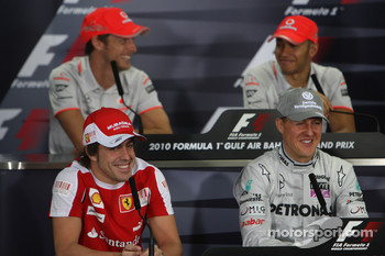 The 4 world champions, Jenson Button, McLaren Mercedes, Fernando Alonso, Scuderia Ferrari, Michael Schumacher, Mercedes GP, Lewis Hamilton, McLaren Mercedes