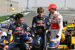 Mark Webber, Red Bull Racing with Sebastian Vettel, Red Bull Racing and Jenson Button, McLaren Mercedes