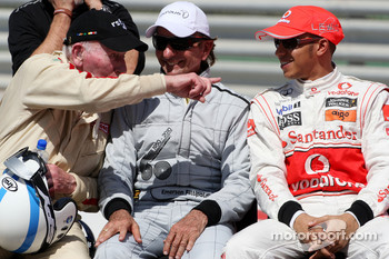 John Surtees, 1964 F1 World Champion, Emerson Fittipaldi, 1972 and 1974 F1 World Champion, Lewis Hamilton, McLaren Mercedes