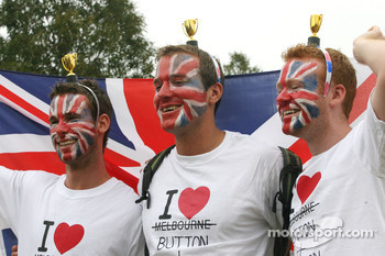 Fans of Jenson Button, McLaren Mercedes and Lewis Hamilton, McLaren Mercedes