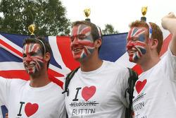 Fans of Jenson Button, McLaren Mercedes and Lewis Hamilton, McLaren Mercedes
